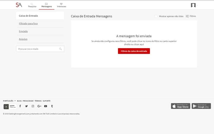 sitestema de recebimento e envio de mensagens no site Seekingarrangement