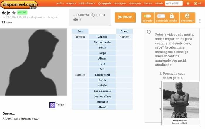 Página de perfil pessoal com características físicas e estilo de vida