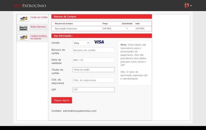processo de pagamento da taxa para entrar no meu patrocínio