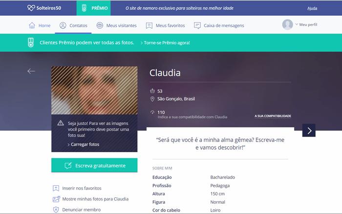 informaçoes pessoaos no perfil do site solteiros50.com.br