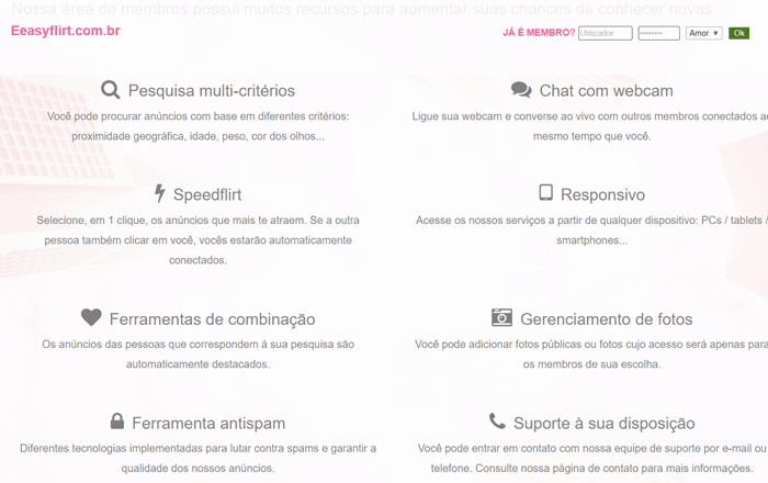 Funcionalidades do site