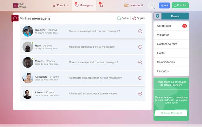 sistema de envio de mensagens no oneamour.com.br