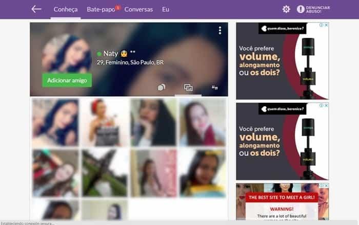 perfil de usuário com características de personalidade e fotos