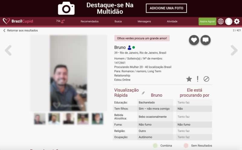 detalhes de perfil de outros solteiros a procura de relacionamento no site