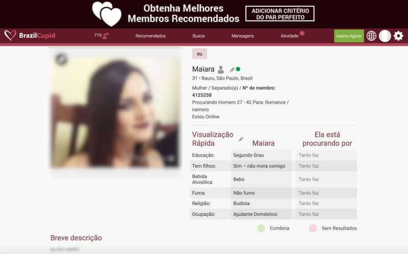 detalhes do perfil de usuário no site brazilcupid