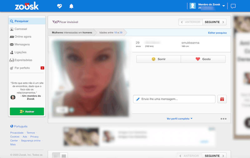 detalhes do perfil pessoal dos usuários com fotos, descrição e características