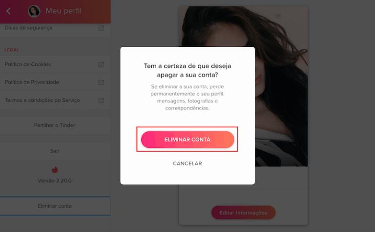 passo numero 3 como excluir a conta do Tinder pelo PC em 3 passos